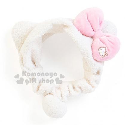 〔小禮堂〕Hello Kitty 彈性束髮帶《白.粉蝴蝶結.小臉》