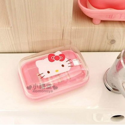 〔小禮堂韓國館〕Hello Kitty 附蓋香皂盒《粉.大臉.透明蓋》