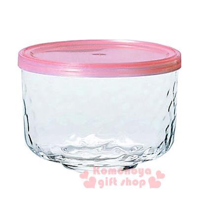 〔小禮堂〕日製玻璃密封罐《透明.粉蓋.420ml》