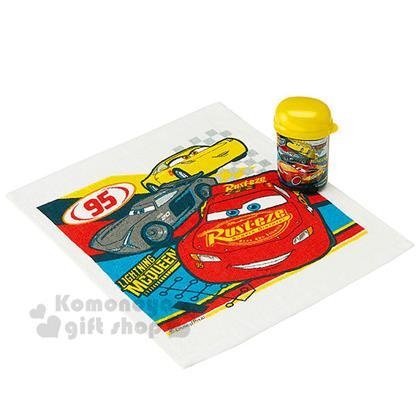 〔小禮堂〕迪士尼 Cars閃電麥坤 方形毛巾附罐《黃黑.多角色.32x28cm》隨身攜帶方便