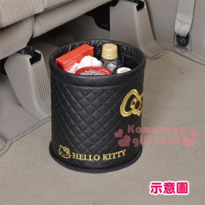 〔小禮堂〕Hello Kitty 車用垃圾桶《黑.金蝴蝶結.LOGO》