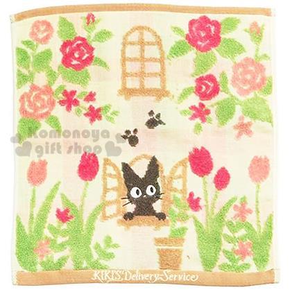 〔小禮堂〕宮崎駿 魔女宅急便 方形毛巾《棕.玫瑰.KIKI.窗戶.方格.35x34cm》日本丸真系列