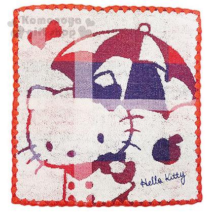〔小禮堂〕Hello Kitty 方形毛巾《紅.撐傘.站姿》34x36cm