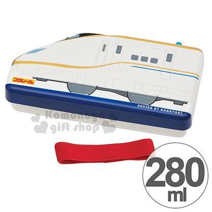 〔小禮堂〕鐵道王國 造型便當盒《 白藍.E7系北陸新幹線.280ml》附鬆緊帶