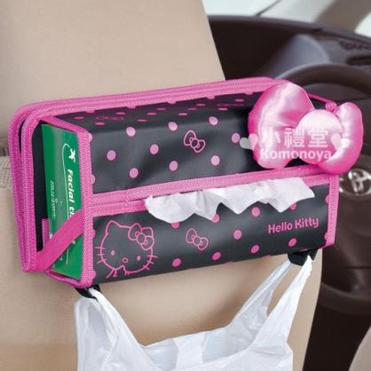 〔小禮堂〕Hello Kitty 汽車用餐盤面紙套《黑.桃紅大蝴蝶結》增加車內便利性