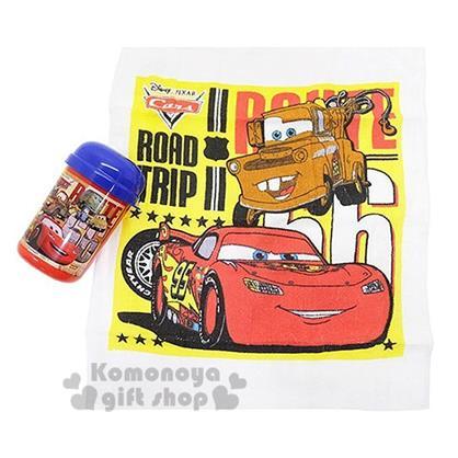 〔小禮堂〕迪士尼 Cars閃電麥坤 日製方形毛巾附罐《藍紅.多角色.33x28cm》隨身攜帶方便