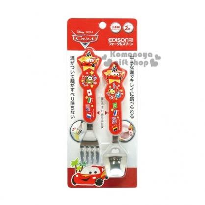 〔小禮堂〕迪士尼 閃電麥坤 CARS 日製造型叉匙組《紅.國旗》日本EDISON系列