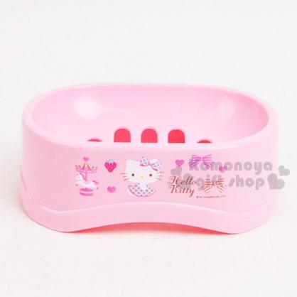 〔小禮堂〕Hello Kitty 肥皂架《粉.點點洋裝.旋轉木馬》皂盤.皂盒