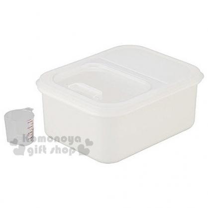 〔小禮堂〕INOMATA 日製密封米桶《白.有提把.透明掀蓋》附量米杯