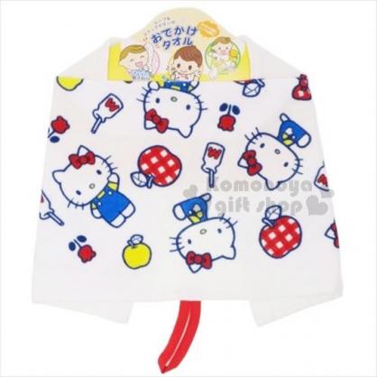 〔小禮堂〕Hello Kitty 純棉兒童擦手巾《白.蘋果.牛奶瓶》擦嘴巾