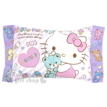 〔小禮堂〕Helloi Kitty 方形兒童枕《粉白條紋.小熊.愛心.糖果.坐姿》