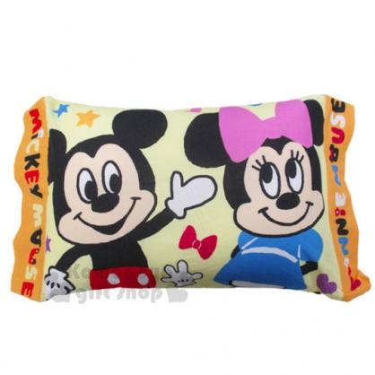〔小禮堂〕迪士尼 米奇米妮 方形兒童枕《黃.微笑.蝴蝶結.舉左手》