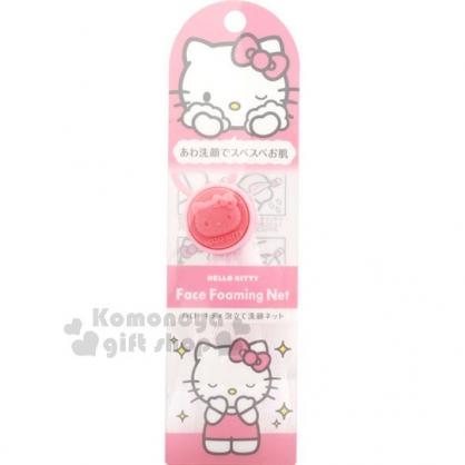 〔小禮堂〕Hello Kitty 日製洗臉起泡網狀袋《粉.大臉.掛式》