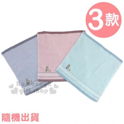 〔小禮堂〕Peter Rabbit 彼得兔 純棉小方巾《3款.隨機出貨.亮藍/藍/粉.27x27cm》手帕.毛巾
