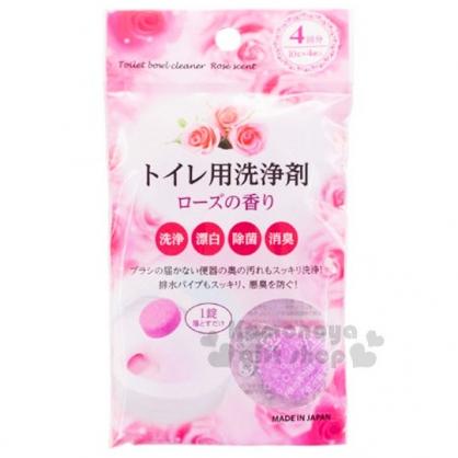 〔小禮堂〕日本製 不動化學新品 馬桶洗淨錠《粉.玫瑰香.4入》天然除臭