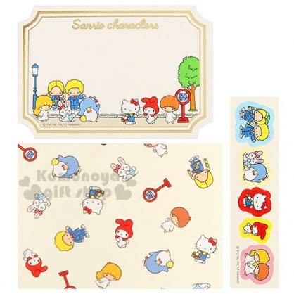 〔小禮堂〕 Sanrio 造型留言卡《5入.s.金邊.多角色》附貼紙
