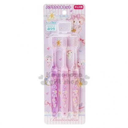 〔小禮堂〕蹦蹦兔 日製兒童牙刷組《3入.紫.多小兔.時鐘.蝴蝶結.附牙刷蓋》