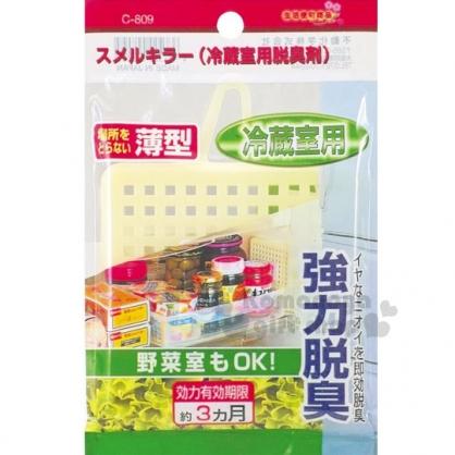 〔小禮堂〕日本不動化學 冰箱強力脫臭掛片《黃.薄型.冷藏用》活性碳除臭