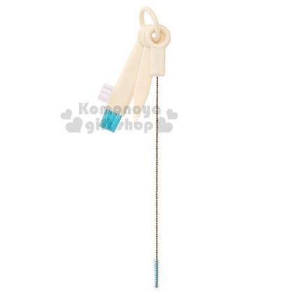 〔小禮堂〕日本SKATER 吸管水壺清潔刷組《白.藍刷頭.3合1》