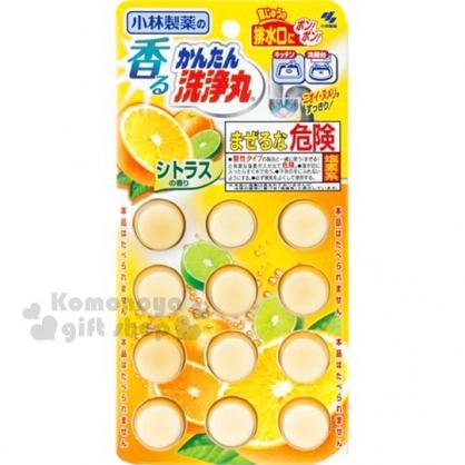 〔小禮堂〕小林製藥 日製排水管除垢錠《橘.12錠入.66g.泡殼紙卡》柑橘香味