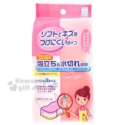 〔小禮堂〕KOKUBO小久保 快乾浴缸海綿《L.粉白.3層》去汙清潔