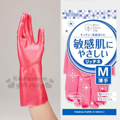〔小禮堂〕DUNLOP 乳膠手套《M.珠光粉》薄型