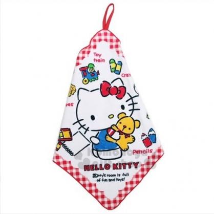 〔小禮堂〕Hello Kitty 純棉擦手巾《紅白格紋.復古風.抱小熊.藍吊帶褲》吸水速乾