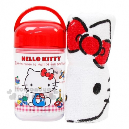 〔小禮堂〕Hello Kitty 方形毛巾附罐《紅白格.經典藍吊帶褲.小熊.玩具.32x28cm》隨身攜帶方便