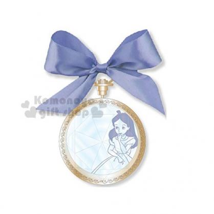 〔小禮堂〕迪士尼 愛麗絲 圓型隨身鏡《藍緞帶.金邊.寶石蓋》懷錶造型