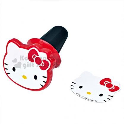 〔小禮堂〕Hello Kitty 車用強力吸鐵手機架《白.大臉.紅蝴蝶結》風扇型