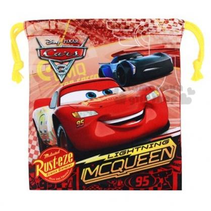 〔小禮堂〕迪士尼 閃電麥坤CARS 棉質束口袋《紅棕.95.速率錶》收納袋