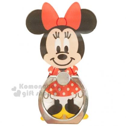 〔小禮堂〕迪士尼 米妮 造型壓克力手機指環架 《紅點點洋裝.站姿.橘盒裝》可360度旋轉
