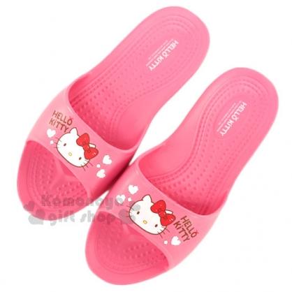 〔小禮堂〕Hello Kitty 抗滑EVA超輕拖鞋《桃紅.大臉.紅蝴蝶結.白愛心》成人尺寸