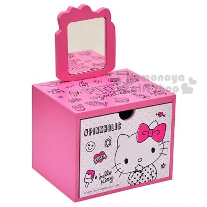 〔小禮堂〕Hello Kitty 單抽手拿鏡收納盒《粉白.冰淇淋.鏡子.點點長袖》