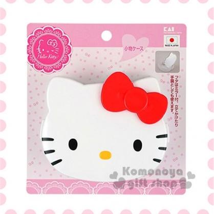 〔小禮堂〕Hello Kitty 日製造型隨身置物盒《白.大臉》內附鏡子