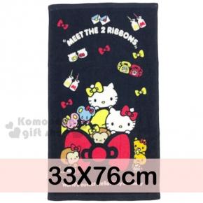 〔小禮堂〕Hello Kitty 長毛巾《M.黑.Kitty&Mimmy.姊妹.紅黃蝴蝶結.33x76cm》100%棉