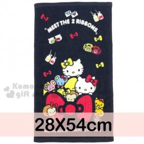 〔小禮堂〕Hello Kitty 學童長毛巾《S.黑.Kitty&Mimmy.姊妹.紅黃蝴蝶結.28x54cm》100%棉