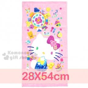 〔小禮堂〕Hello Kitty 學童長毛巾《S.粉.寶石繽紛.側坐.星星.28x54cm》100%棉