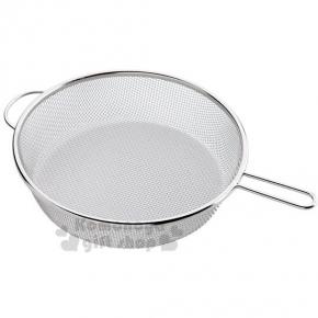 〔小禮堂〕下村工業 日本製平底鍋用料理撈網《大.銀.圓型》適用於25cm以上鍋具
