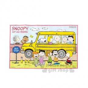 〔小禮堂〕史努比 野餐墊《S.藍.黃巴士.好朋友.60x90cm》單人用尺寸設計