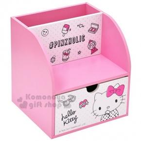 〔小禮堂〕Hello Kitty 單抽多功能收納盒《粉白.點點上衣.牛奶.小物》