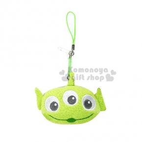 〔小禮堂〕迪士尼 大眼仔 玩偶防塵塞《綠.螢光綠吊繩.大臉》適用3.5mm耳機孔
