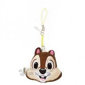 〔小禮堂〕迪士尼 奇奇 玩偶防塵塞《深咖.黃吊繩.大臉》適用3.5mm耳機孔