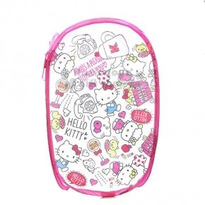〔小禮堂〕Hello Kitty 折疊網狀洗衣籃《白粉.亂花.字母》