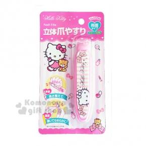 〔小禮堂〕Hello Kitty 雙面指甲銼刀《白粉條紋.大臉.粉緞帶》銅板小物