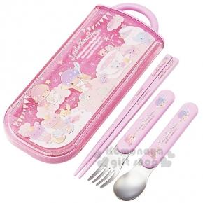 〔小禮堂〕雙子星 日製三件式餐具組《粉紫.星空下午茶.杯子蛋糕.糖果》滑蓋式開法