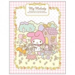 〔小禮堂〕美樂蒂 日製自黏便利貼《粉白格.花圈.小花.編織》