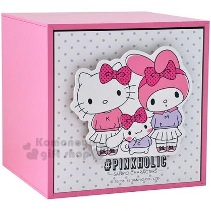 〔小禮堂〕Hello Kitty 美樂蒂 大耳狗 桌上型單抽收納盒《粉白.點點.家人.拉手》抽屜櫃.木製櫃