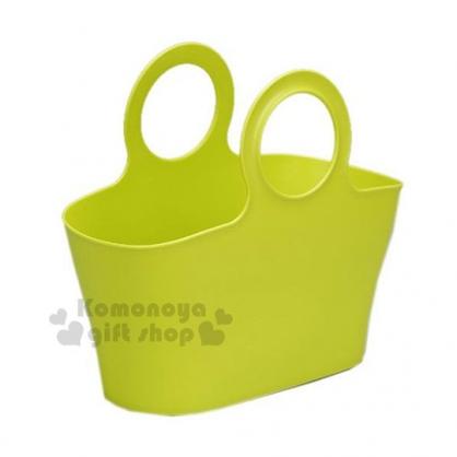 〔小禮堂〕inomata 日製置物籃《M.青綠.圓把》收納籃.購物籃