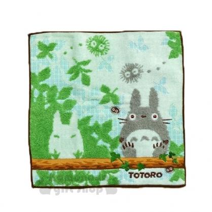 〔小禮堂〕宮崎駿 Totoro龍貓 小方巾《灰綠.樹林.龍貓.坐姿》25x25cm